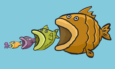 circle of fish life cartoon