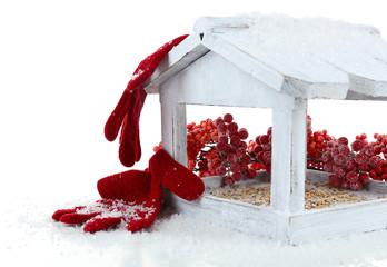 Handmade birdhouse isolated on white