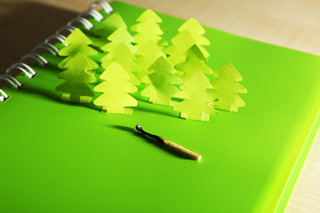 Concept of conservation forests cut paper