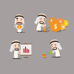 Arab businessman character - growth