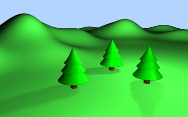green 3d landscape with three trees and hills eps10