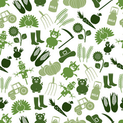 farm icons green seamless pattern eps10
