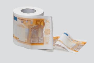 Toilettenpapier mit Eurowährung bedruckt