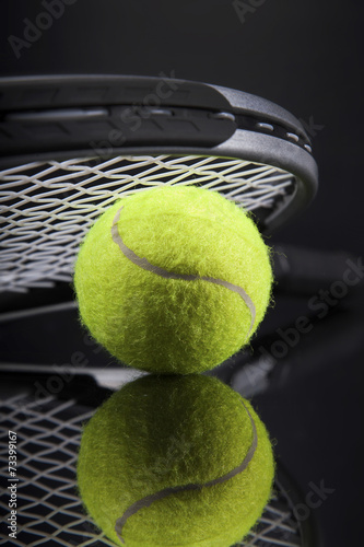 Poster A set of tennis. Racket and ball.