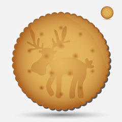 christmas brown biscuit with reindeer symbol eps10