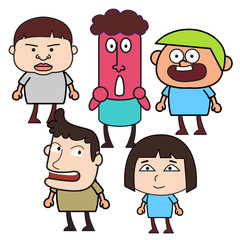 Group of  funny cartoon people
