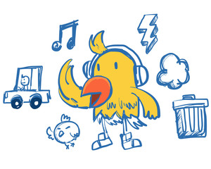 funny hip-hop style yellow bird