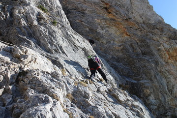 Climber on the Hans von Haidsteig, Raxalpe, Austria