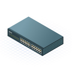 Isometric Switch with 24 Ports Vector Illustration