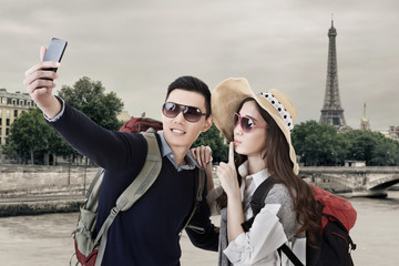Asian couple travel and selfie