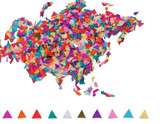 Map of Eurasia made of confetti / with clipping path poster