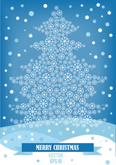 vector illustration of christmas snowflakes tree