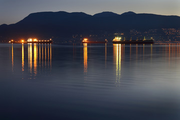 English Bay, Dawn Freighters, Vancouver