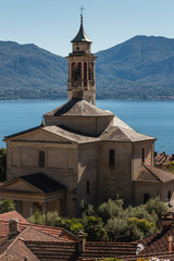church in Cannero Riviera village at lake Maggiore