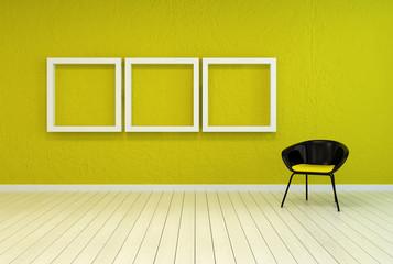 Colorful modern art gallery interior