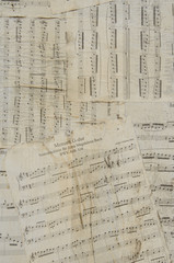 Old and thorn music sheets