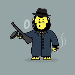 Cute gorilla mobster.