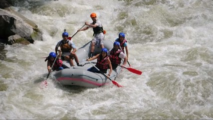 River Rafting as extreme and fun sport, slow motion