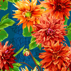Seamless pattern of georgina flowers with leaves 2