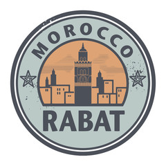 Stamp or label with text Rabat, Morocco inside