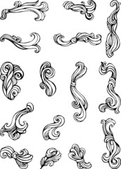set of abstract curly black and white grafic elements