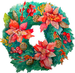 Watercolor Christmas wreath with decoration, christmas tree, con