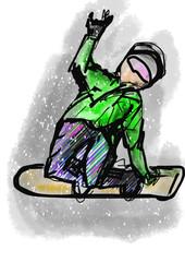 hand draw snowboarding