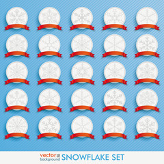 White Emblems Snowflakes Red Flag Set