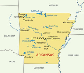 Arkansas - vector map
