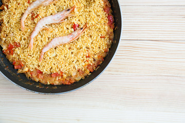 Rice paella with shrimp and seafood