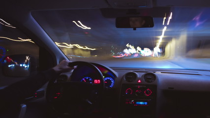 The car driving time lapse at night