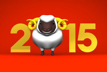 Smile White Sheep, 2015 On Red