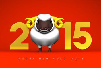 Smile White Sheep, 2015, Greeting On Red