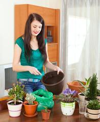 woman transplanting flowers  in flowerpot