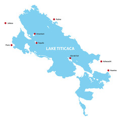 Titicacasee Lake Titicaca Puno Bolivia Shape Map Very Detailed