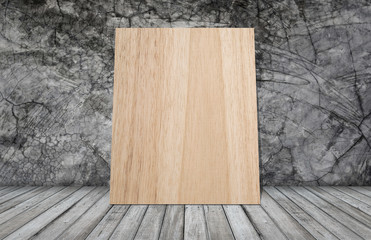 woodboard on grunge wallpaper with wooden table