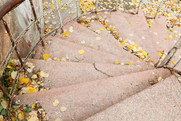 Closeup of stairs outdoors with yellow leaves