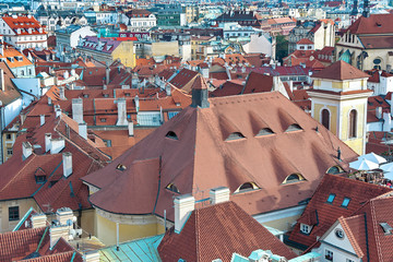 top view of houses with traditional red roofs in Prague (Czech R