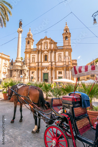 Aluminium Palermo San Domenico square and church in Palermo, Italy