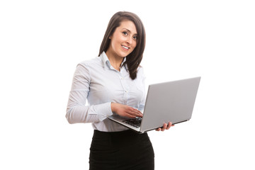 Nice smiling woman with laptop
