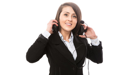 Nice young call center worker with headset