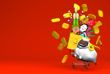 White Sheep, New Year's Ornaments And Shopping Cart On Red