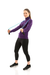 Fit woman with jump rope