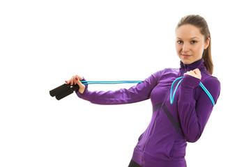 Joyful happy woman with jump rope around her neck