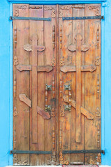 old wooden doors with orthodox crosses