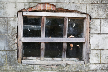 Closeup of old wooden frame window