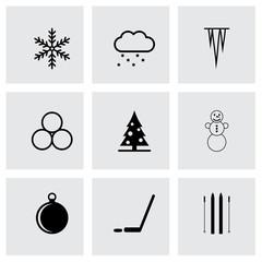 Vector black winter icon set
