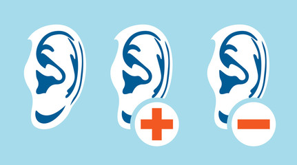 Ear hearing problem icons