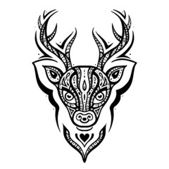 Deer head. Ethnic pattern.