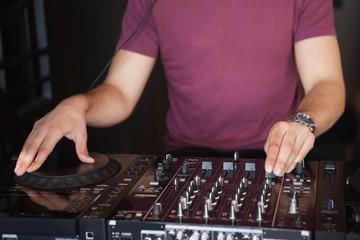 Cool dj spinning the decks